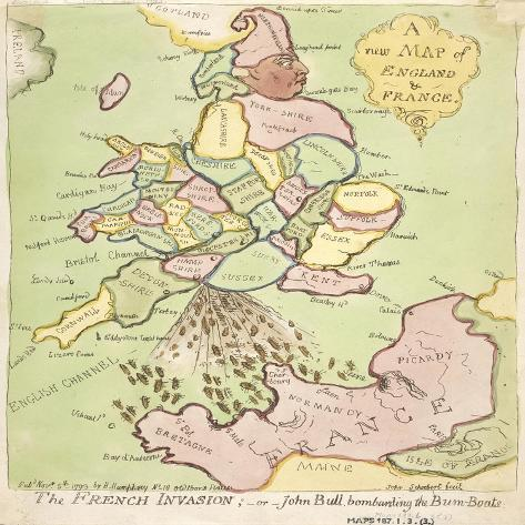 New Map of England and France, the French Invasion, 1793 Giclee ...