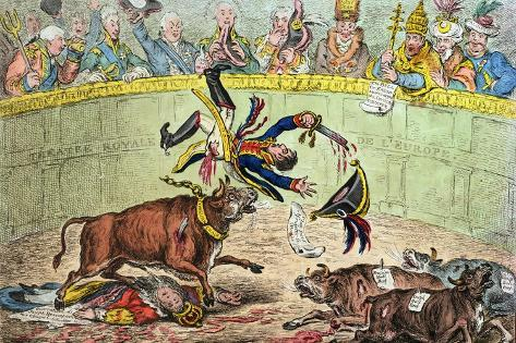The Spanish Bull Fight, or the Corsican Matador in Danger, Published by Hannah Humphrey in 1808 Lámina giclée