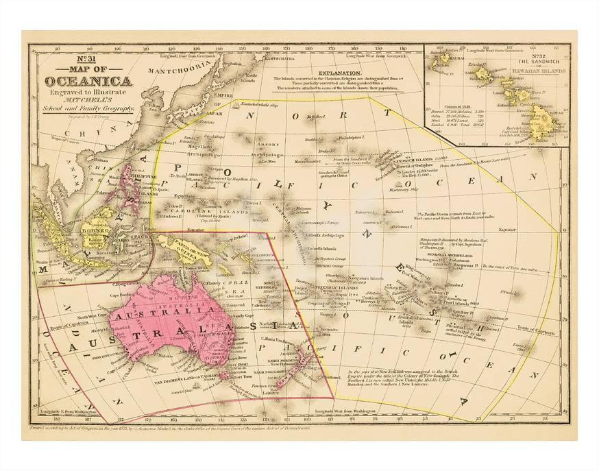 Australia And Pacific Map.Map Of Oceanica Australia Hawaii Pacific Islands Posters By