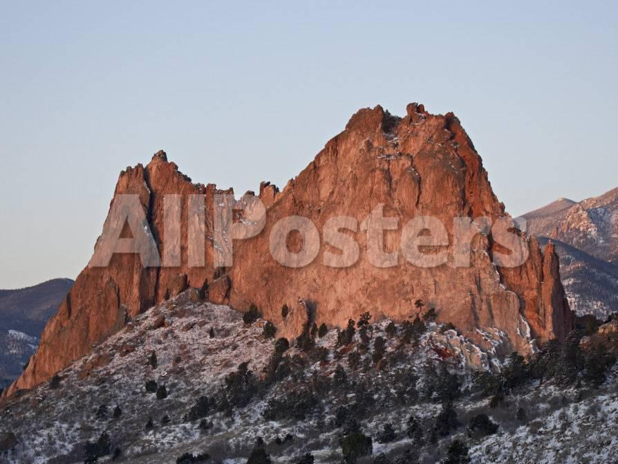 Cathedral Rock With Snow Garden Of The Gods Colorado Springs Colorado Usa