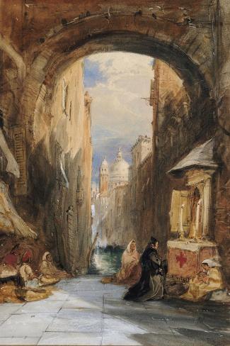 Venice: an Edicola Beneath an Archway, with Santa Maria Della Salute in the Distance, 1853 Lámina giclée