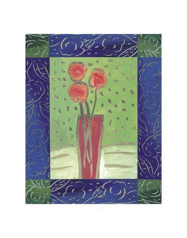 Orange Flowers on Green Art Print