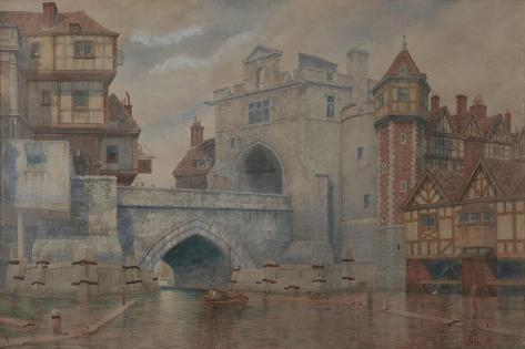 Traitor's Gate - Old London Bridge in 1650 Giclee Print