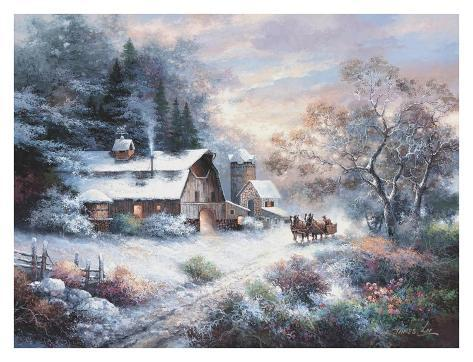 Snowy Evening Outing Art Print