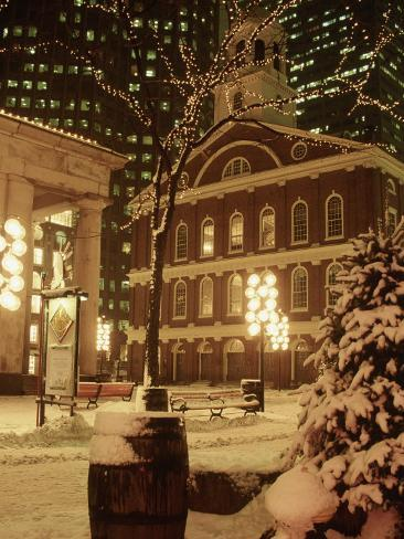 Faneuil Hall at Christmas with Snow, Boston, MA Photographic Print