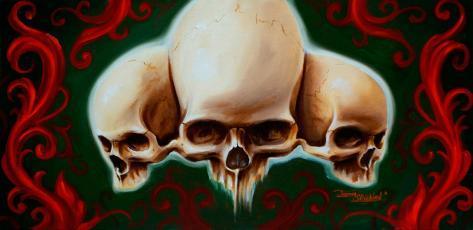 Three Skulls Stretched Canvas Print