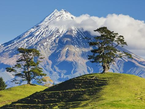 Lush hills in front of Mount Egmont Photographic Print