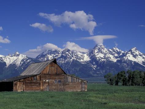 Jackson Hole Homestead and Grand Teton Range, Grand Teton National Park, Wyoming, USA Photographic Print