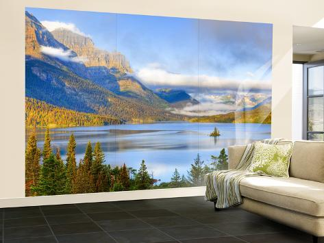 Saint Mary Lake and Wild Goose Island, Glacier National Park, Montana, USA Wall Mural – Large