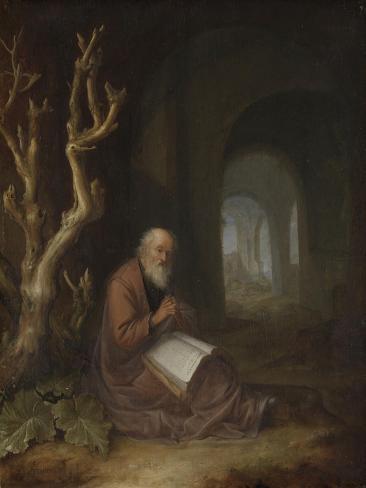 A Hermit Praying in Ruins Art Print