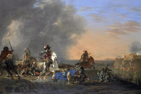 Cavalry Attack at Sunset Art Print