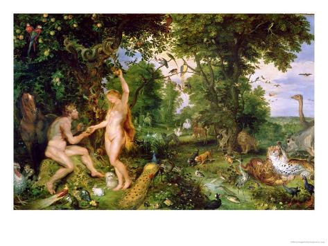Adam and Eve in Paradise, circa 1610-15 Giclee Print