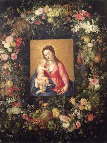 Garland of Fruit and Flowers with Virgin and Child Giclee Print