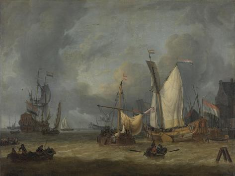 Ships in the Harbor in a Stiff Breeze Art Print