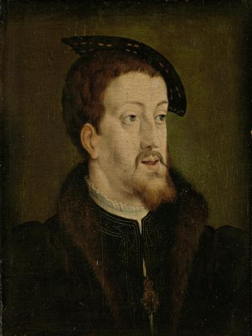 Portrait of Charles V, Holy Roman Emperor, Manner of Jan Cornelisz Vermeyen. Art Print
