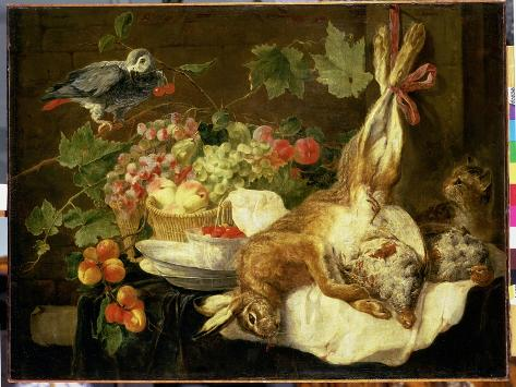 Still Life with Hare, Fruit and Parrot, 1647 Giclee Print