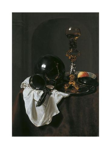 Still Life with Glass of Wine and Pewter Jug Lámina giclée