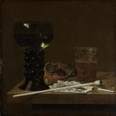 Still Life with Roemer, Beer Glass and a Pipe Art Print