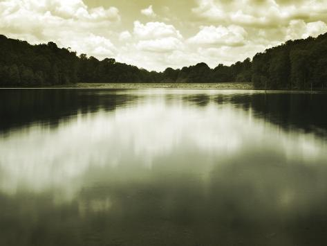 Water Reflecting Bordering Trees and Sky Photographic Print