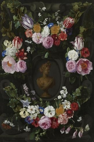 Garland of Flowers Surrounding a Bust of Flora Art Print
