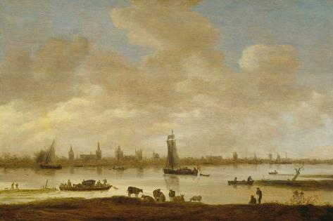 River Landscape with View of Vianen Art Print