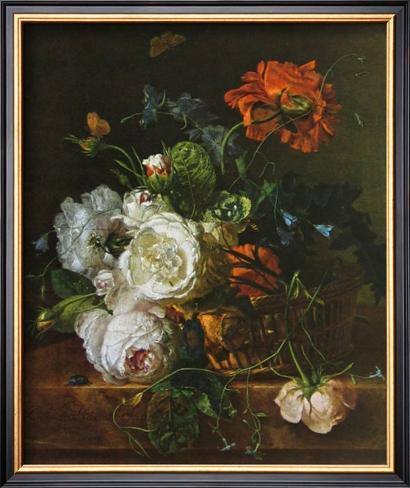 Basket of Flowers Impressão artística emoldurada