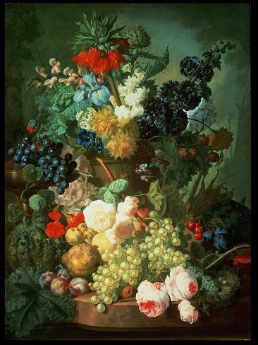 Still Life Mixed Flowers and Fruit with Bird's Nest Lámina giclée