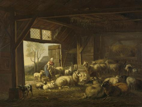 Sheep and Goats in a Stable Art Print