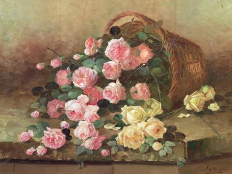 Roses in a Basket Giclee Print