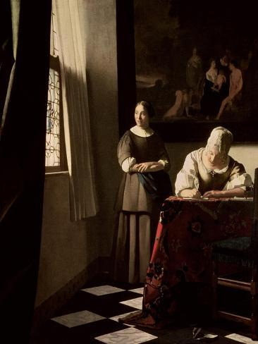 Lady Writing a Letter with Her Maid, circa 1670 Giclee Print