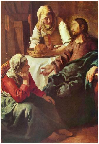 Jan Vermeer van Delft (Christ with Mary and Martha) Art Poster Print Póster
