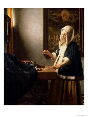 Woman Holding a Balance, circa 1664 Giclee Print