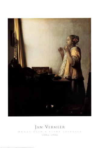 Woman with a Pearl Necklace Art Print