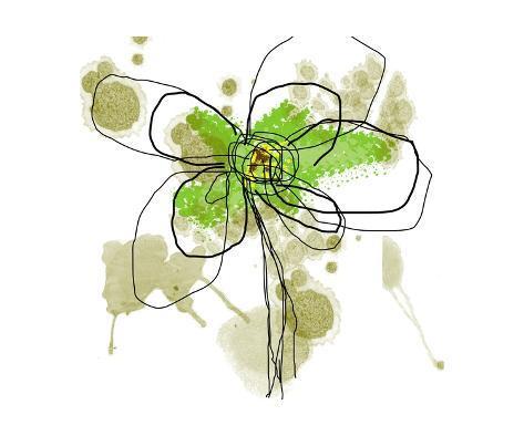 Liquid Green Flower Art Print