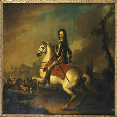 Portrait of King William Iii at the Battle of the Boyne in 1690 Giclee Print