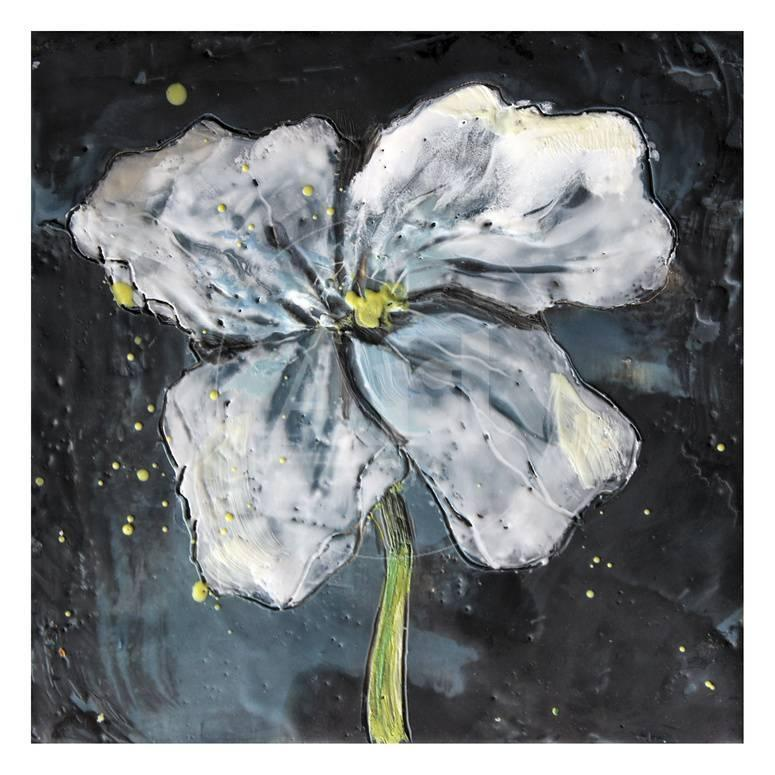 White Flower On Black 2 Prints By Jane Fox At Allposters