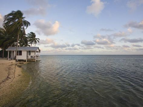 Beach Cabana, Tobaco Caye, Belize, Central America Photographic Print