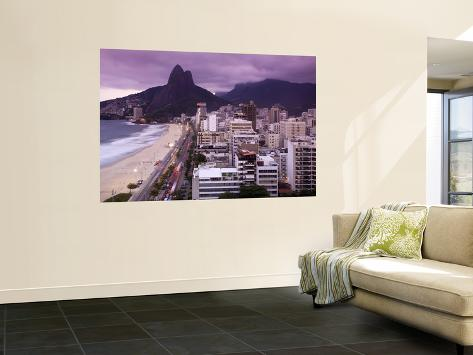 Brazil, Rio De Janeiro, View of Leblon Beach and Two Brothers Mountain - Dois Irmaos Wall Mural