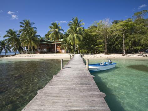 Carenero Island Beach and Pier, Bocas Del Toro Province, Panama Photographic Print