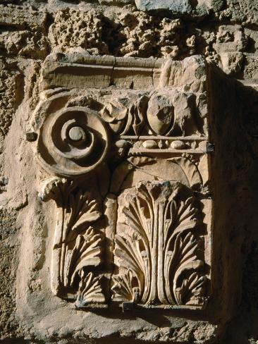 Carved Detail at Antonine Baths, Carthage, L'Ariana, Tunisia Photographic Print