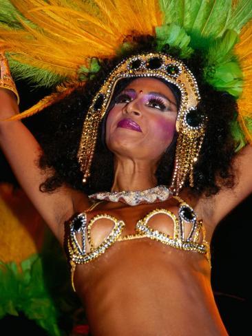 Female Carnival Dancer in Headdress, Rio De Janeiro, Brazil Photographic Print