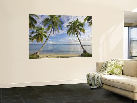 Panama, Bocas Del Toro Province, Carenero Island, Palm Trees and Beach Wall Mural