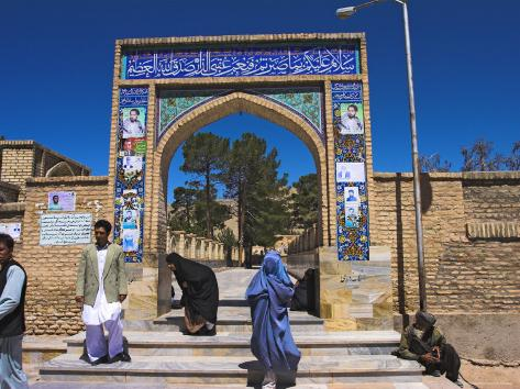 Pilgrims at Main Entrance Arch, Sufi Shrine of Gazargah, Herat, Herat Province, Afghanistan Photographic Print