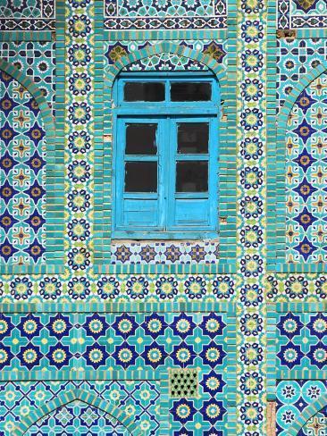 Tiling Around Blue Window, Shrine of Hazrat Ali, Mazar-I-Sharif, Balkh, Afghanistan, Asia Photographic Print