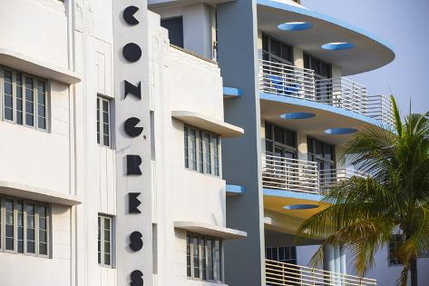 U.S.A, Miami, Miami Beach, South Beach, Ocean Drive, Congress Hotel Valokuvavedos