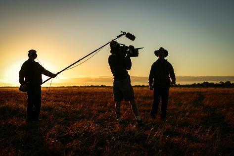Camera Crew in Action Photographic Print