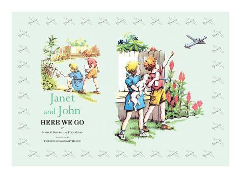 Janet And John Here We Go Art Print