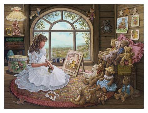 Jenny Paints Her Bears Art Print