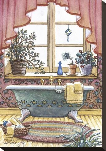 Vasca da bagno vintage i stampa su tela di janet kruskamp - Stampe botero bagno ...