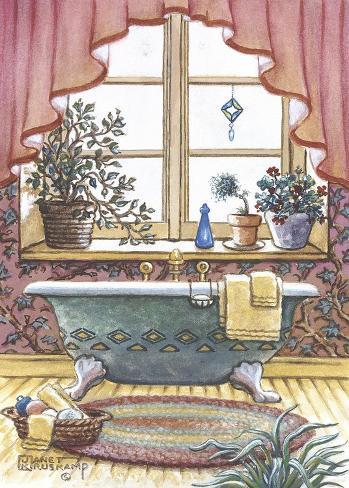Vasca da bagno vintage i stampa su tela di janet kruskamp su - Vasca da bagno retro ...